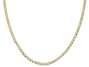10k Yellow Gold Semi-Solid 2.5mm Mariner Chain 18 inch Necklace