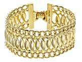 Womens Fancy Curb Link Bracelet 18k Yellow Gold Over Bronze 7.5 inch