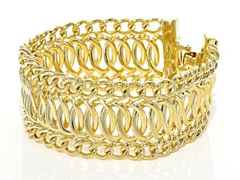 Womens Fancy Curb Link Bracelet 18k Yellow Gold Over Bronze 7 5 Inch