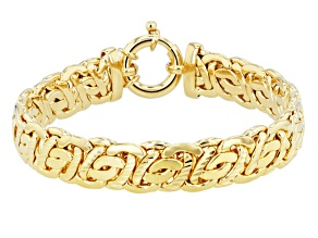 18k Yellow Gold Over Bronze Byzantine Link Bracelet 8 inch