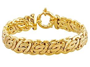 18k Yellow Gold Over Bronze Flat Byzantine Link Bracelet