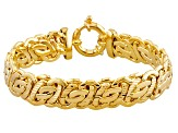 18k Yellow Gold Over Bronze Flat Byzantine Link Bracelet