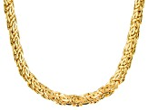 18k Yellow Gold Over Bronze Flat Byzantine Link Necklace 18 inch 13.5mm