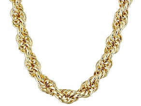 18K Yellow Gold Over Bronze Soft Rope Link 24 Inch Chain