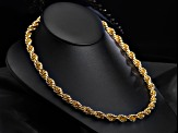 18k Yellow Gold Over Bronze Soft Rope Link Chain Necklace 24 inches