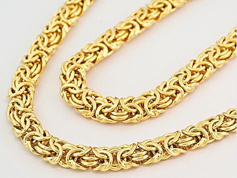 Byzantine Link Chain Necklace Bracelet Jewelry Set 18kt Yellow Gold Over  Bronze 3810d3308c21