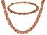 18k Rose Gold Over Bronze Flat Byzantine Link Necklace & Bracelet Set