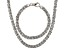 Rhodium Over Bronze Flat Byzantine Link Necklace & Bracelet Set