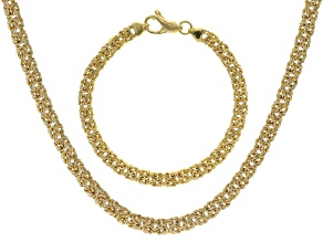 18k Yellow Gold Over Bronze Flat Byzantine Link Necklace & Bracelet Set