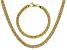 18k Yellow Gold Over Bronze Flat Byzantine Link Necklace & Bracelet Set