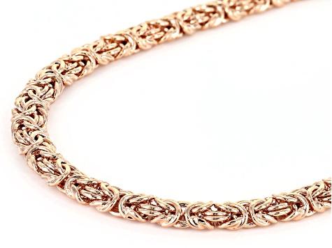 18k Rose Gold Over Bronze Flat Byzantine Link Necklace & Bracelet Set