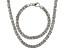 Rhodium Over Bronze Flat Byzantine Link Necklace & Bracelet Set