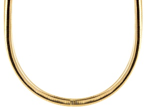 18k Yellow Gold Over Bronze With Rhodium Reversible Omega Necklace 20 inch