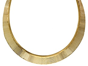 18k Yellow Gold Over Bronze Graduated Omega Necklace 17 inch