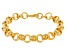 18k Yellow Gold Over Bronze Rolo Link Bracelet 8 inch