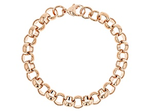 18k Rose Gold Over Bronze Rolo Link Bracelet 8 inch