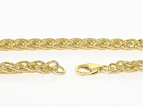 18k Yellow Gold Over Bronze Spiga Link Necklace And Bracelet Set