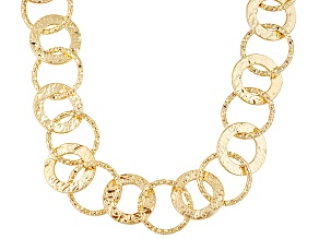 18k Yellow Gold Over Bronze Circle Link Necklace 24 inch