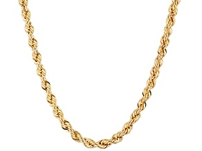 18k Yellow Gold Over Bronze Rope Link Chain Necklace 24 inch 3mm
