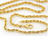 18k Yellow Gold Over Bronze Rope Link Chain Necklace 20 inch 3mm