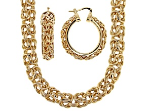 18k Yellow Gold Over Bronze Byzantine Necklace And Hoop Earring Set