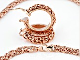 Moda Al Massimo® 18k Rose Gold Over Bronze Byzantine Necklace And Hoop Earring Set