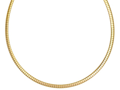 18k Yellow Gold Over Bronze Omega Necklace 18 inch 4mm