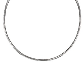 Rhodium Over Bronze Omega Necklace 18 inch 4mm