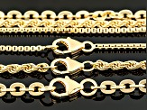 18k Yellow Gold Over Bronze Box, Rope, Cable Link Chain Set Of 3 18, 20, 24 inch