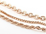 18k Rose Gold Over Bronze Box, Rope, Cable Link Chain Set Of 3 18, 20, 24 inch