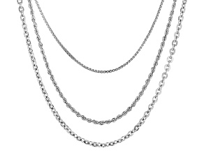 Rhodium Over Bronze Box, Rope, Cable Link Chain Set Of 3 18, 20, 24 inch