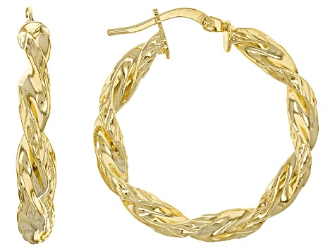 350eaec3cd318 18k Yellow Gold Over Bronze Textured Twisted Hoop Earrings