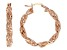 18k Yellow Gold Over Bronze Textured Twisted Hoop Earrings