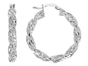 Rhodium Over Bronze Textured Twisted Hoop Earrings