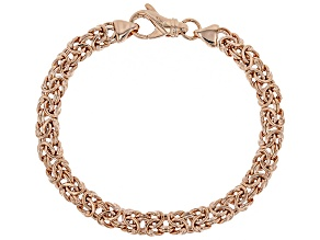 18k Rose Gold Over Bronze Flat Byzantine Link Bracelet 7.5 inch