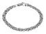 Rhodium Over Bronze Flat Byzantine Link Bracelet 7.5 inch