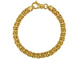 18k Yellow Gold Over Bronze Flat Byzantine Link Bracelet 7.5 inch