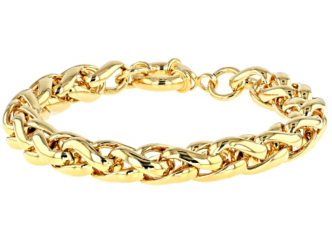 18k Yellow Gold Over Bronze Wheat Link Bracelet 7.75 inch