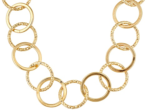 18k Over Bronze Diamond Cut And Polished Circle Link Necklace 24