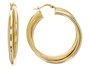 18k Yellow Gold Over Bronze Double Twist Hoop Earrings