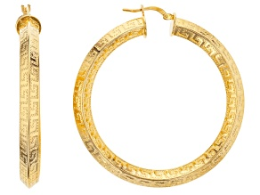 18k Yellow Gold Over Bronze Greek Key Tube Hoop Earrings