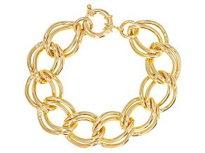 18k Yellow Gold Over Bronze Hollow Double Curb Link Bracelet 8 inch