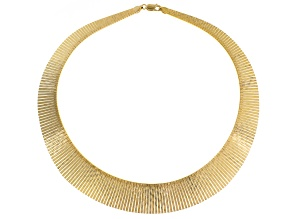18k Yellow Gold Over Bronze Graduated Cleopatra Necklace 18 inch