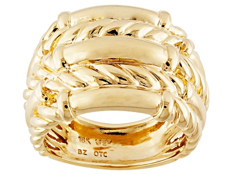 18k Yellow Gold Over Bronze Twisted Ribbed Band Ring