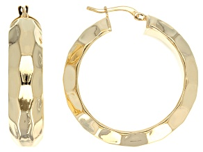 18k Yellow Gold Over Bronze Textured Tube Hoop Earrings