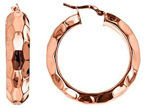 18k Rose Gold Over Bronze Textured Tube Hoop Earrings