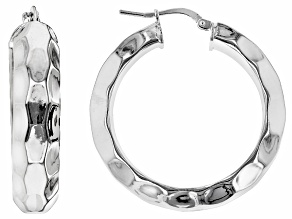 Rhodium Over Bronze Textured Tube Hoop Earrings