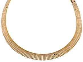 18k Gold Over Bronze Greek Key Omega Necklace 18 inch