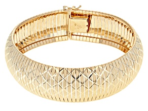 18k Yellow Gold Over Bronze Diamond Cut Flex Bangle 7.5 inch