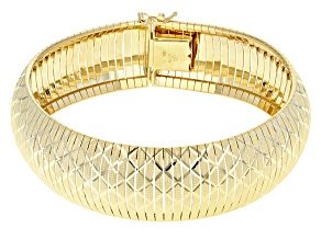 18k Yellow Gold Over Bronze Diamond Cut Flex Bangle 8 inch